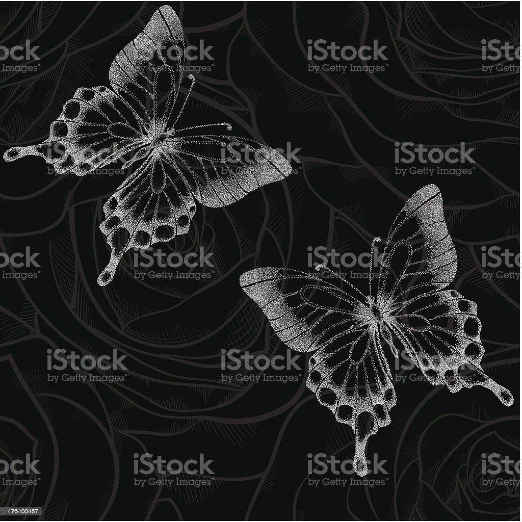 black and white seamless background with butterflies and flowers roses royalty-free stock vector art