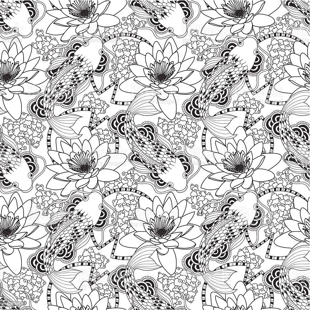 Black and white seamless koi and lotus pattern vector art illustration