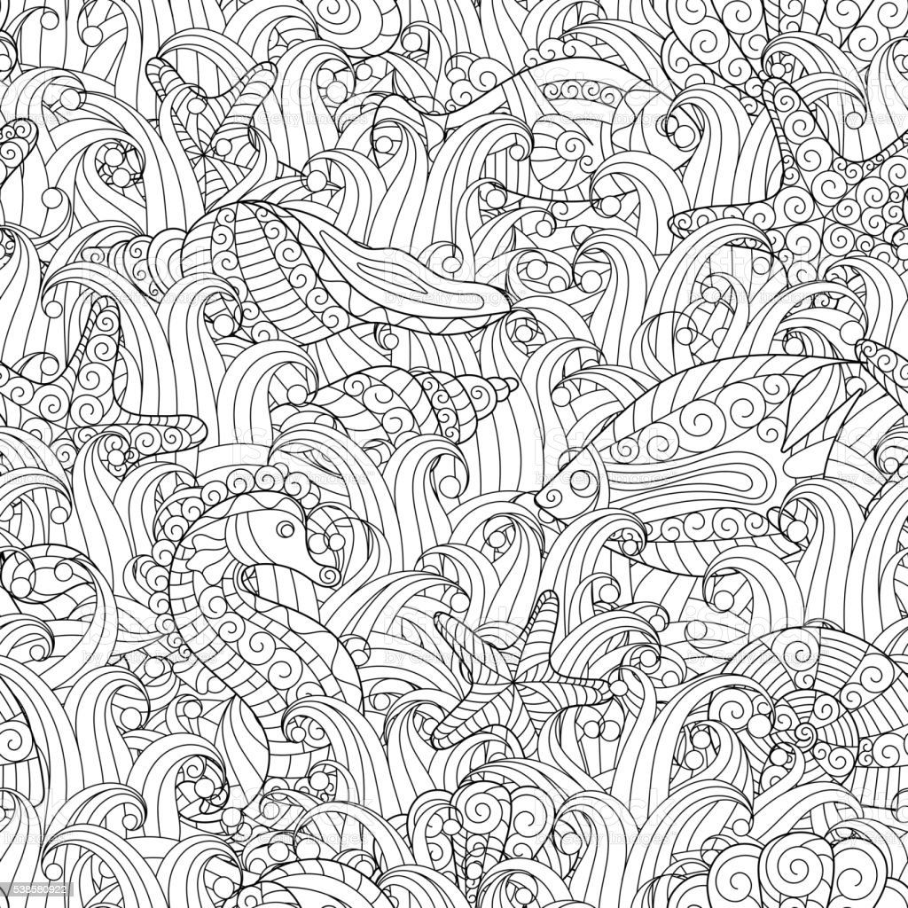 Black and white seamless pattern for coloring book. Sea life vector art illustration