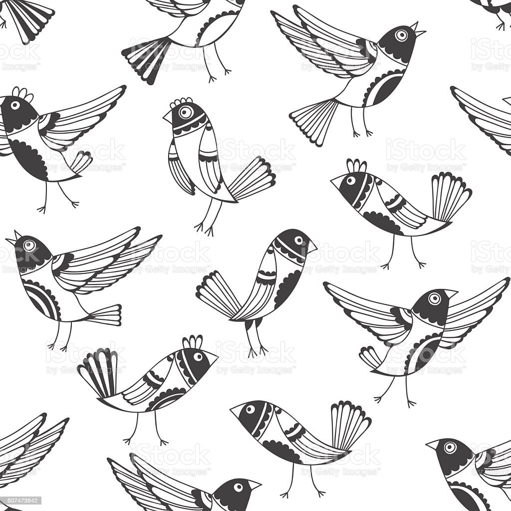 Black and white seamless pattern with cartoon birds. vector art illustration