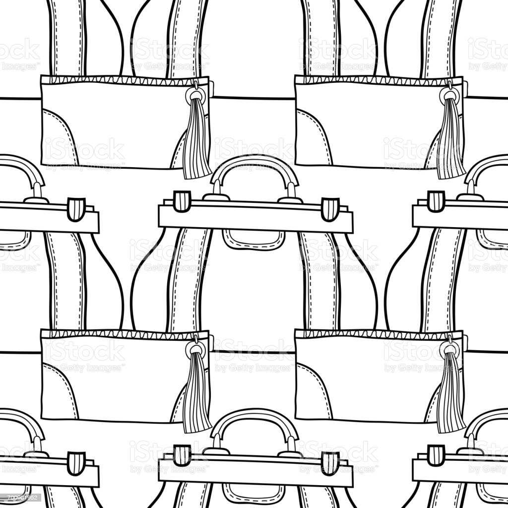 Coloring book bag - Black And White Seamless Pattern With Fashion Bags For Coloring Book Pages Royalty Free