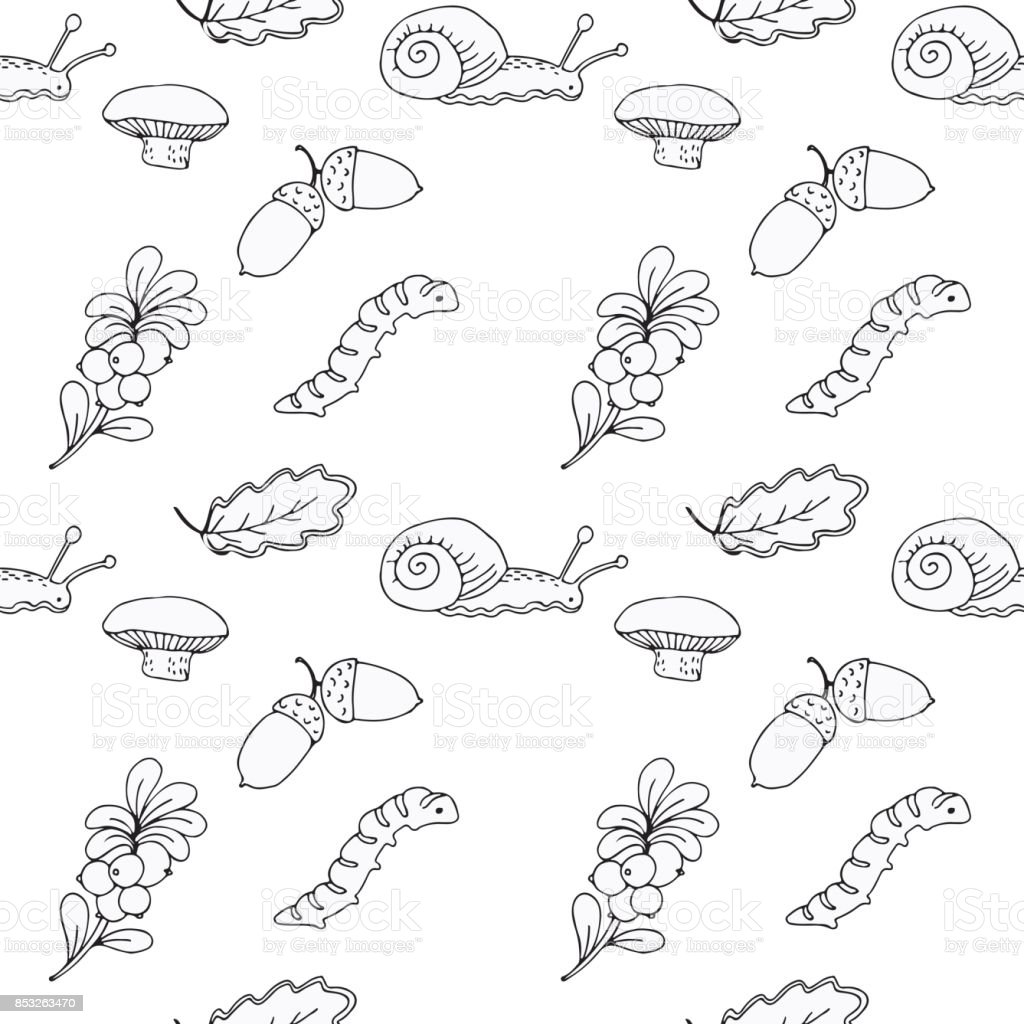 black and white seamless pattern with hand drawn elements forest vector art illustration