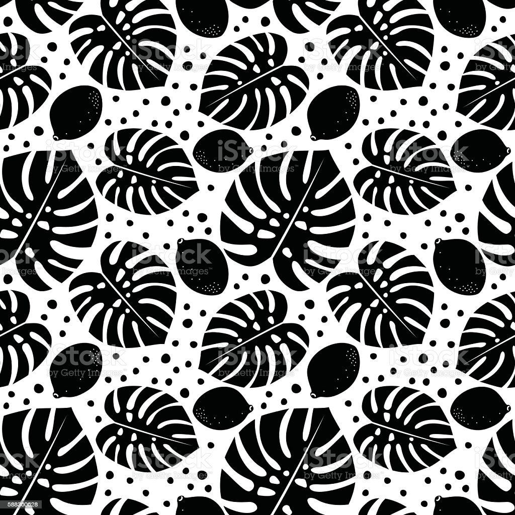 Black and white seamless pattern with lemons, palm leaves. vector art illustration
