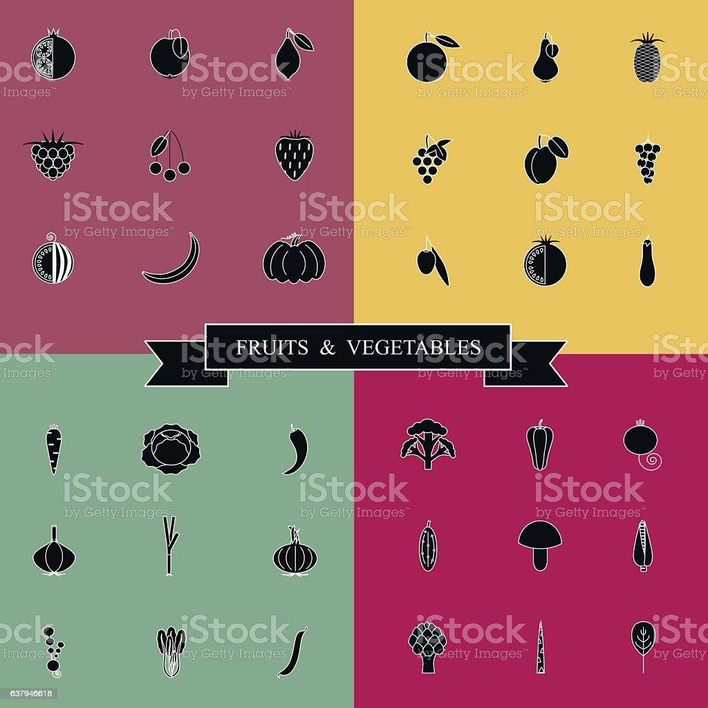 Black and white set fruits and vegetables icons vector art illustration