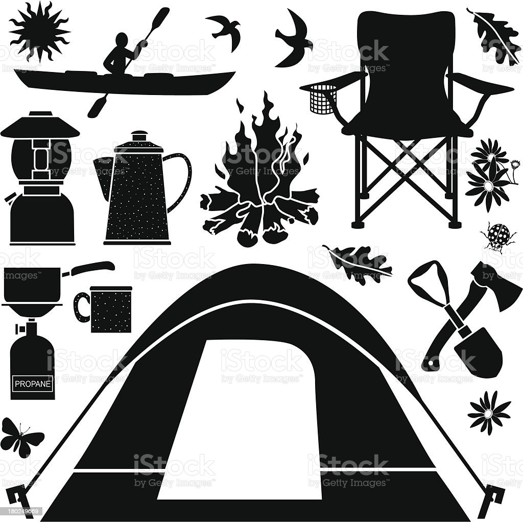 Black and white set of flat camping themed design elements royalty-free stock vector art