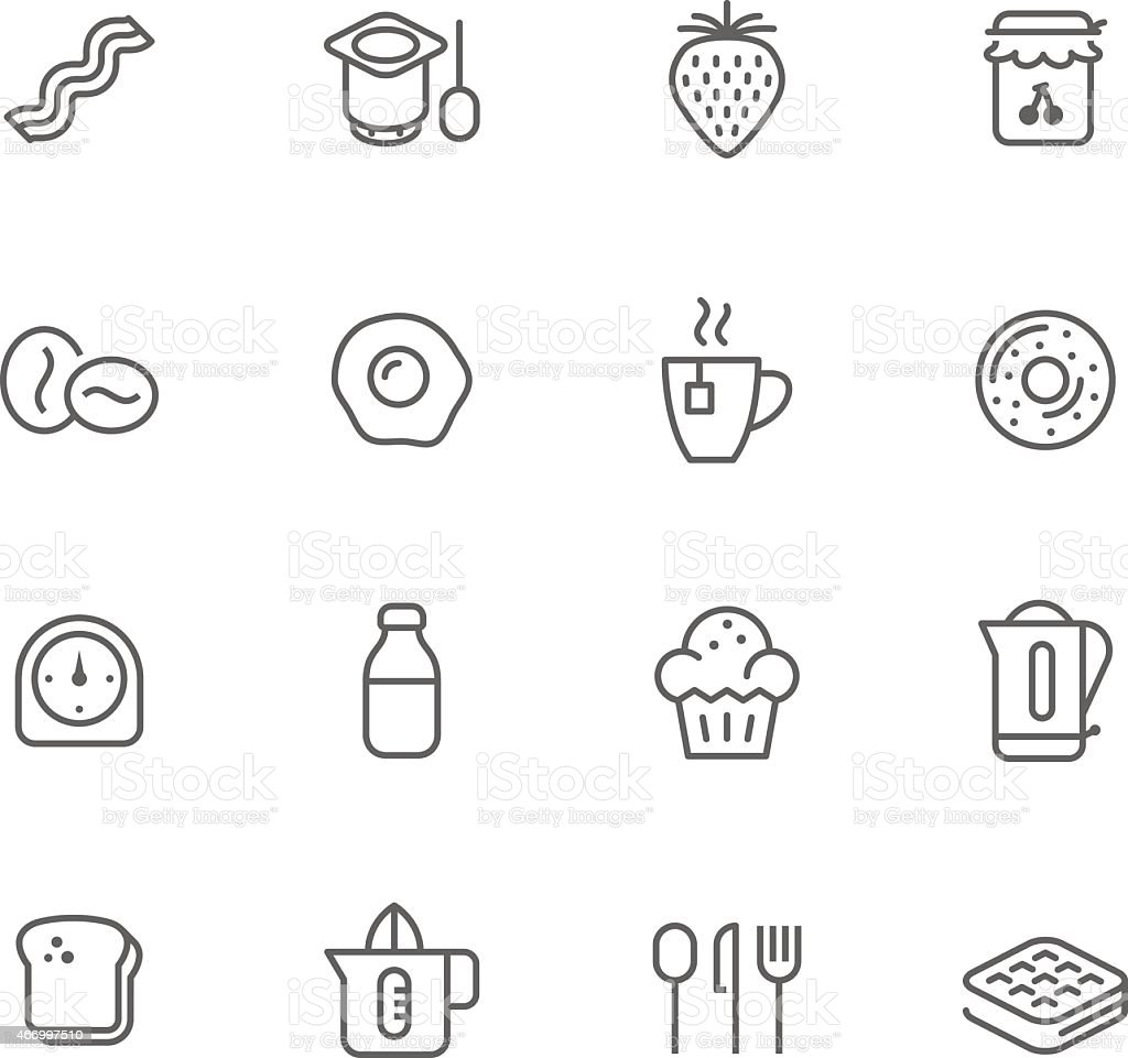 Black and white set of icons of breakfast items vector art illustration