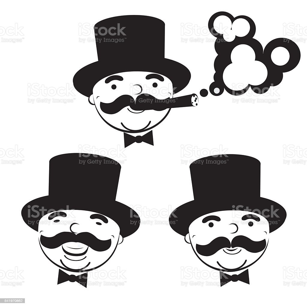 black and white set of  men in top hats royalty-free stock vector art