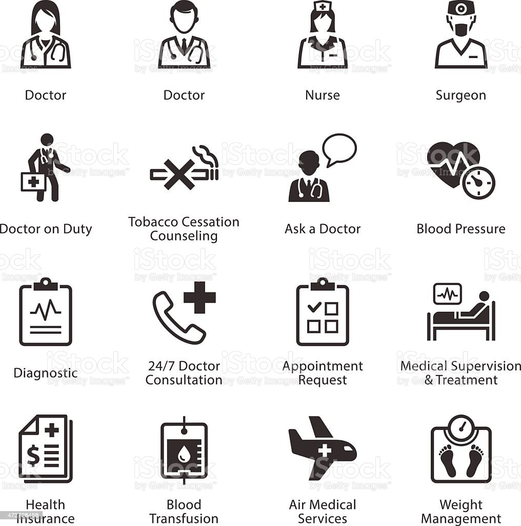 A black and white set of sixteen medical icons vector art illustration