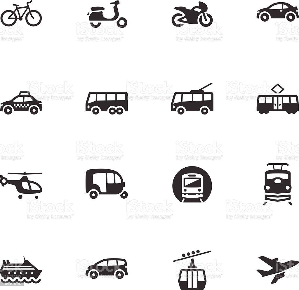 Black and white set of transportation icons vector art illustration