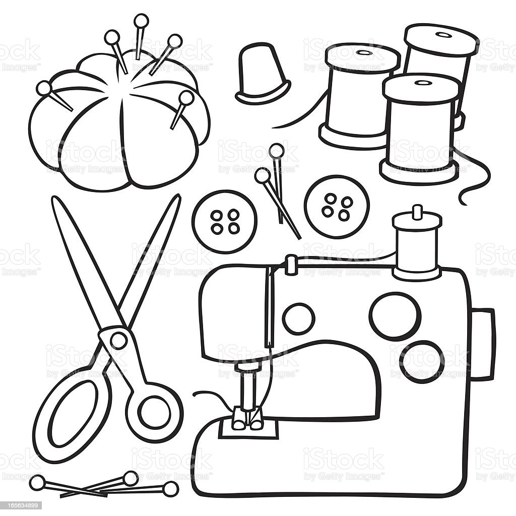 Black And White Sewing Items stock vector art 165634899 ...