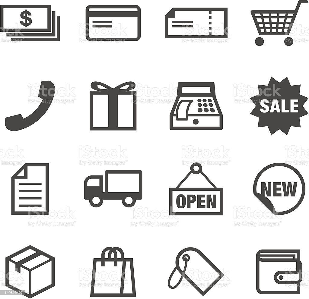 16 black and white shopping icons vector art illustration
