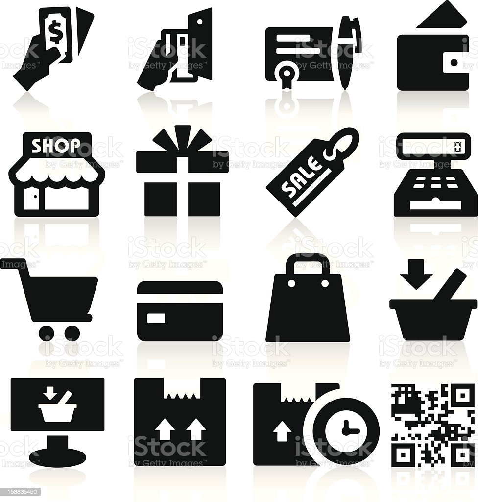 Black and white shopping icons vector art illustration