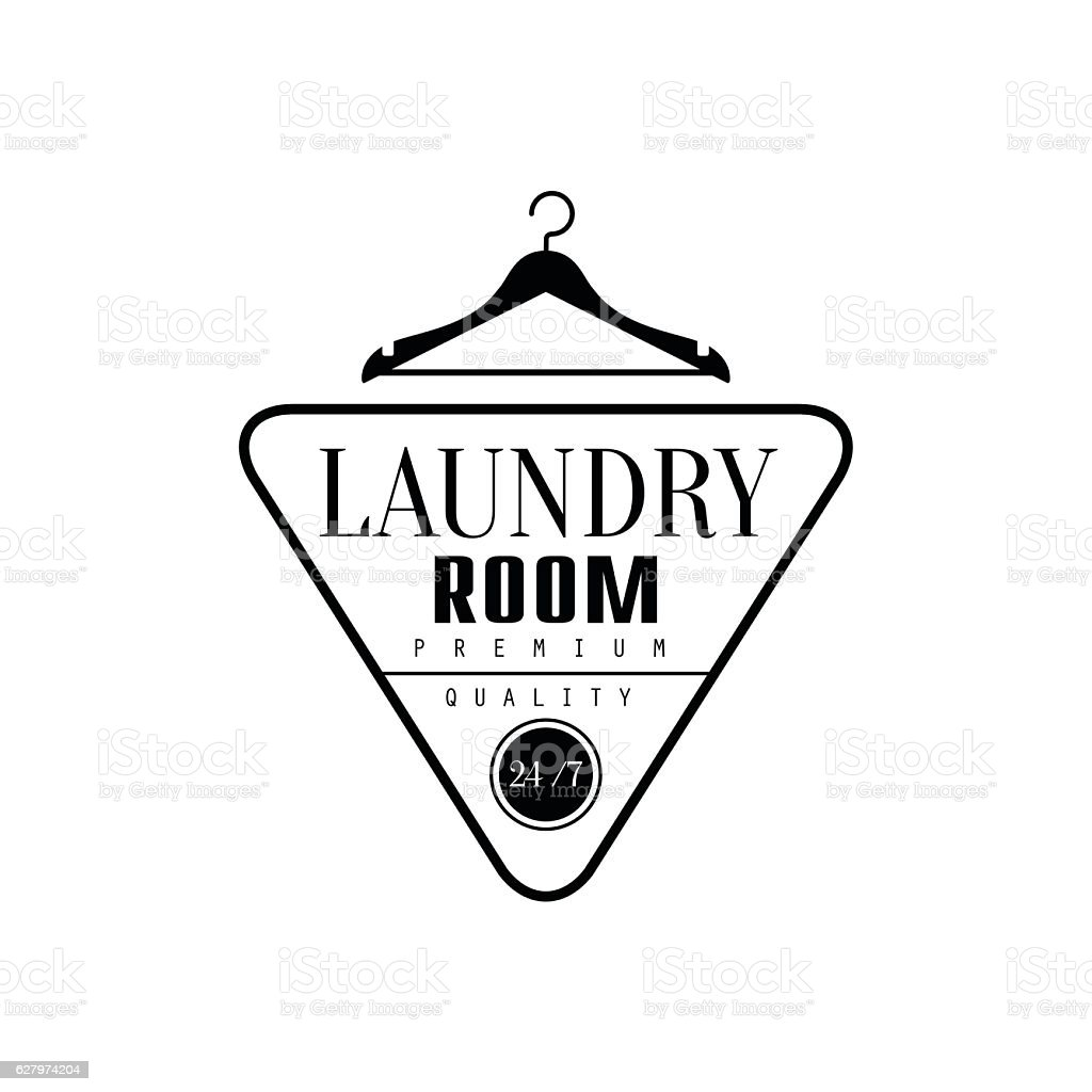 Black And White Sign For The Laundry  Dry Cleaning Service vector art illustration
