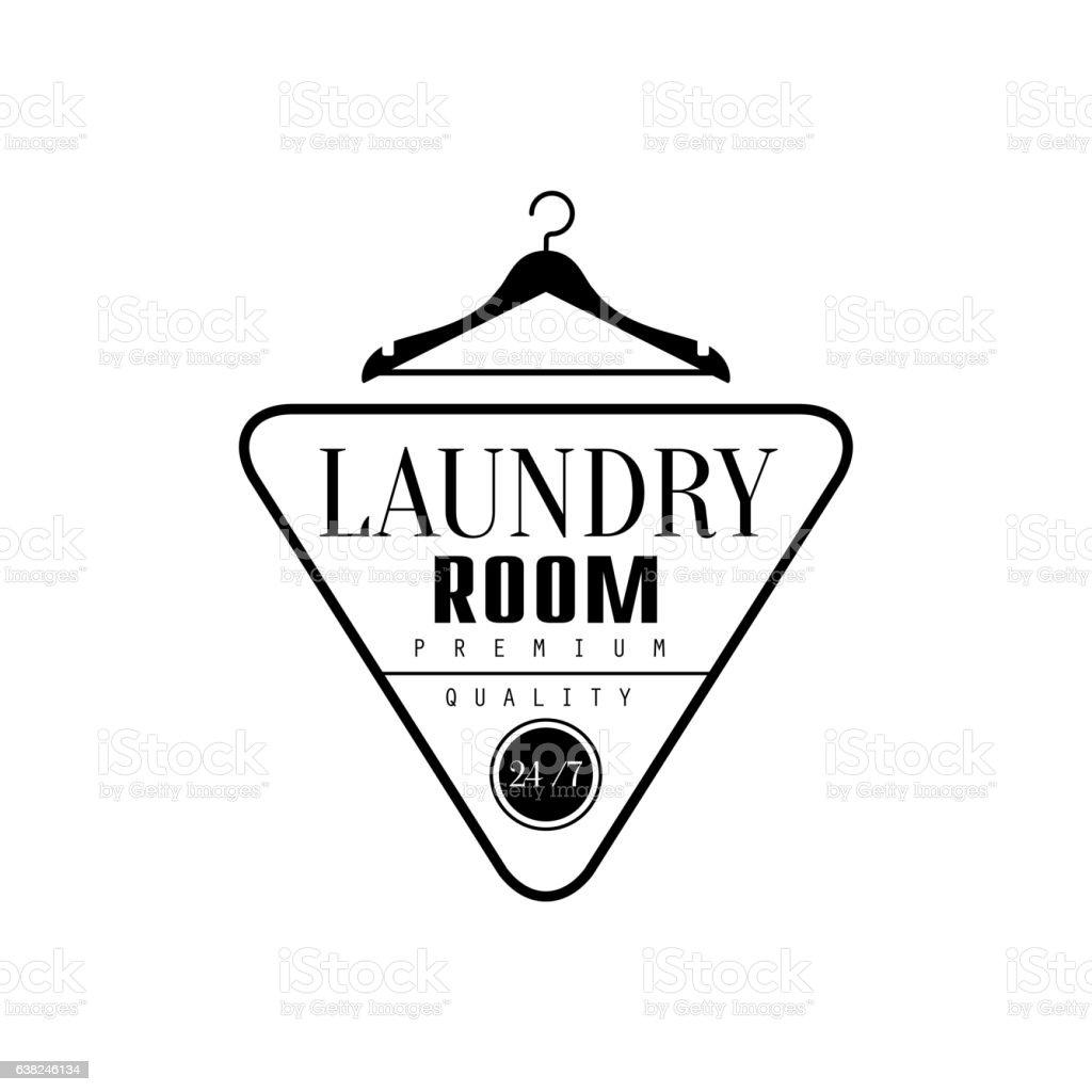 Black And White Sign For The Laundry  Dry Cleaning vector art illustration