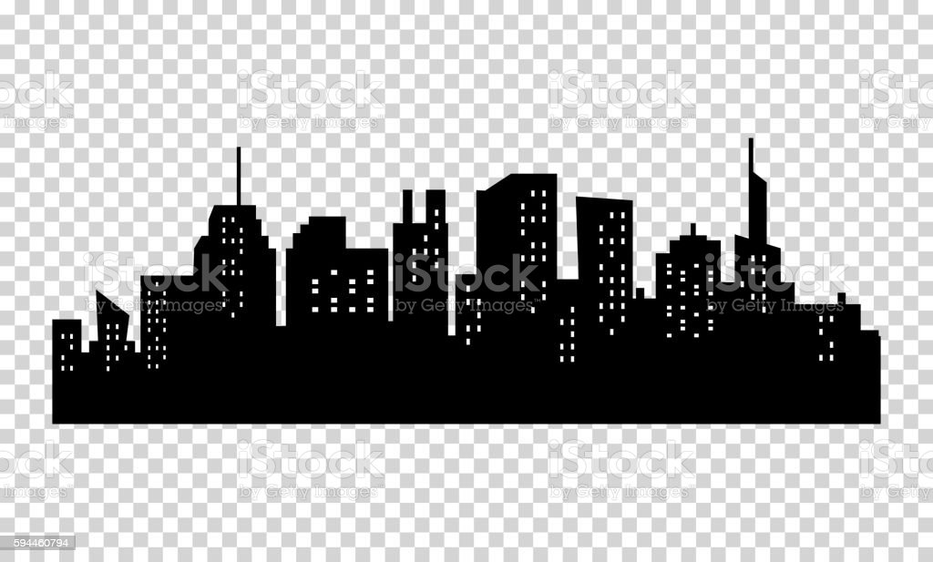 Black and white sihouette of big city skyline. vector art illustration