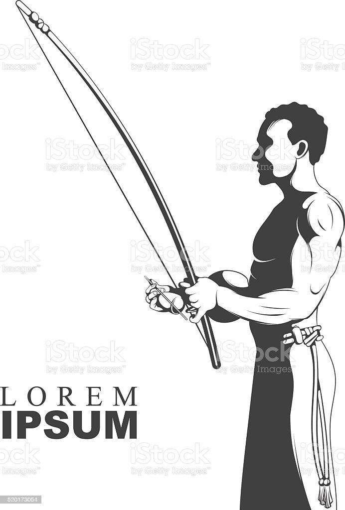 Black and white silhouette capoeira dance playing on instrument berimbau vector art illustration