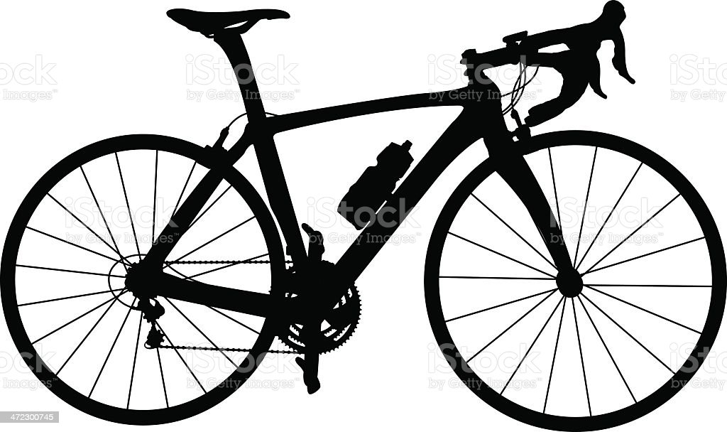 Black and white silhouette of racing bicycle vector art illustration