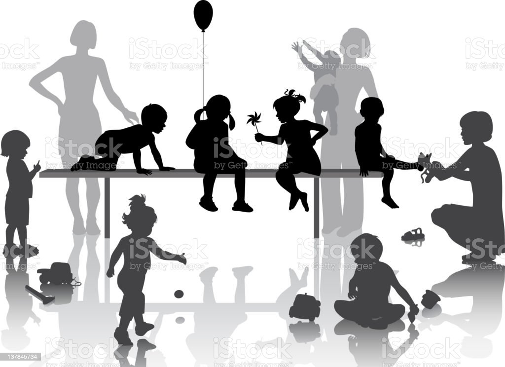 Black and white silhouettes of children playing vector art illustration