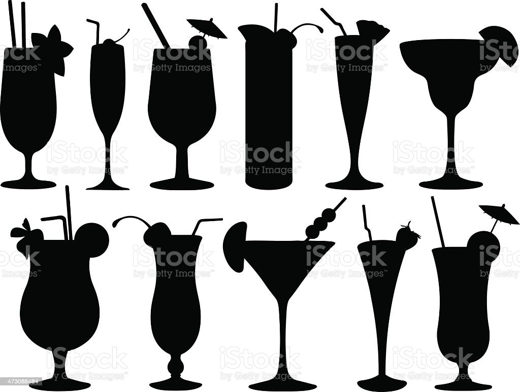 Black and white silhouettes of cocktail glasses vector art illustration