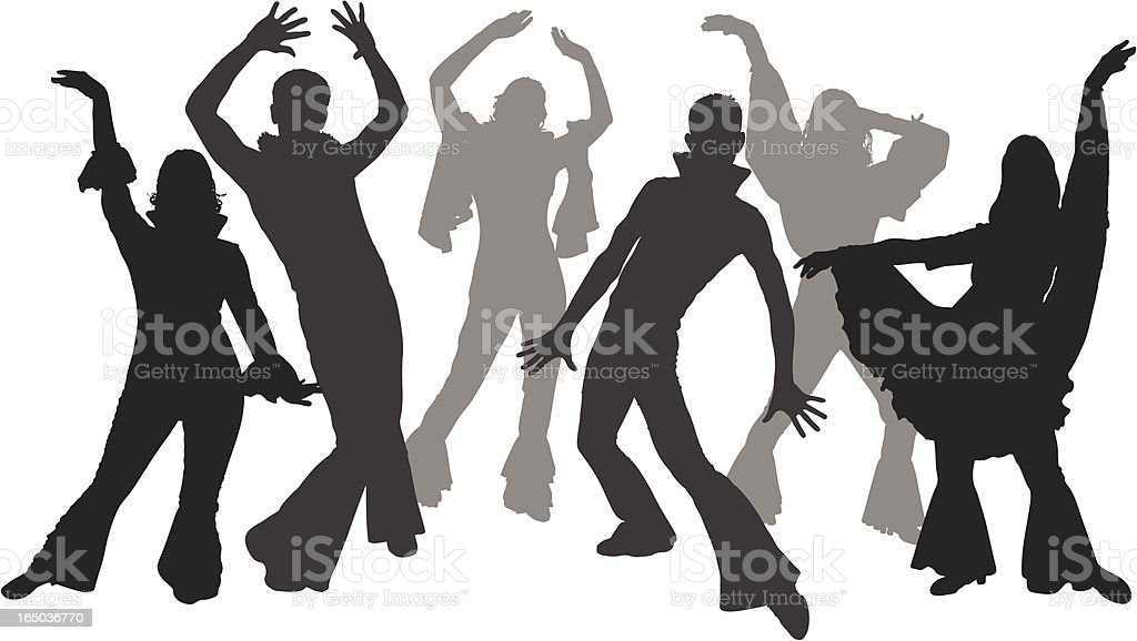 Black and white silhouettes of dancers wearing flares royalty-free stock vector art