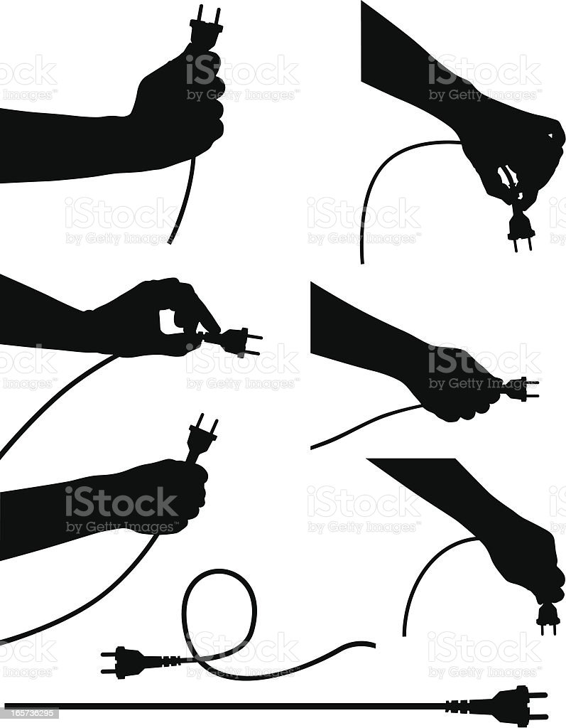Black and white silhouettes of hands holding electric cords vector art illustration