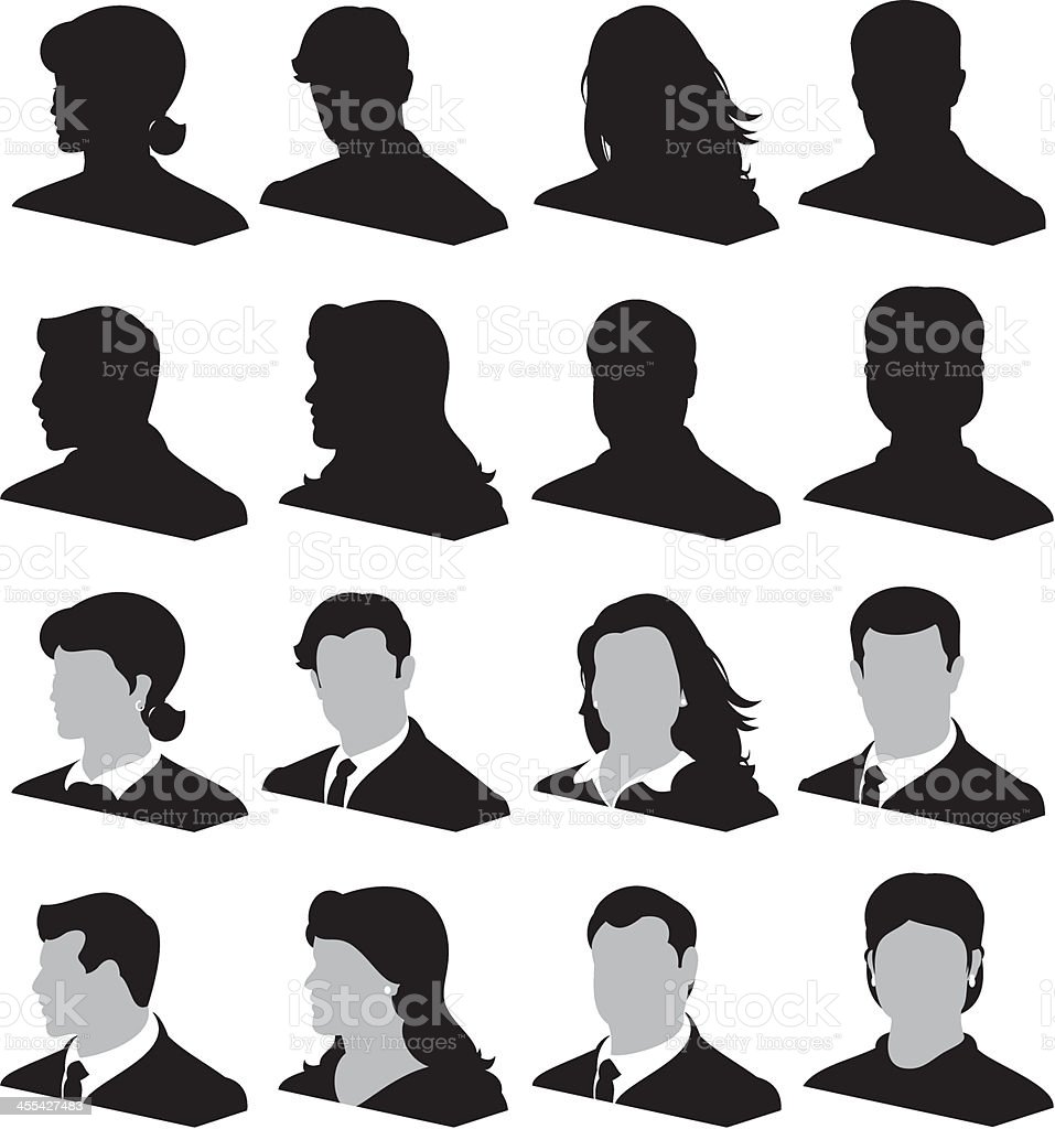 Black and white silhouettes of men and women's heads vector art illustration