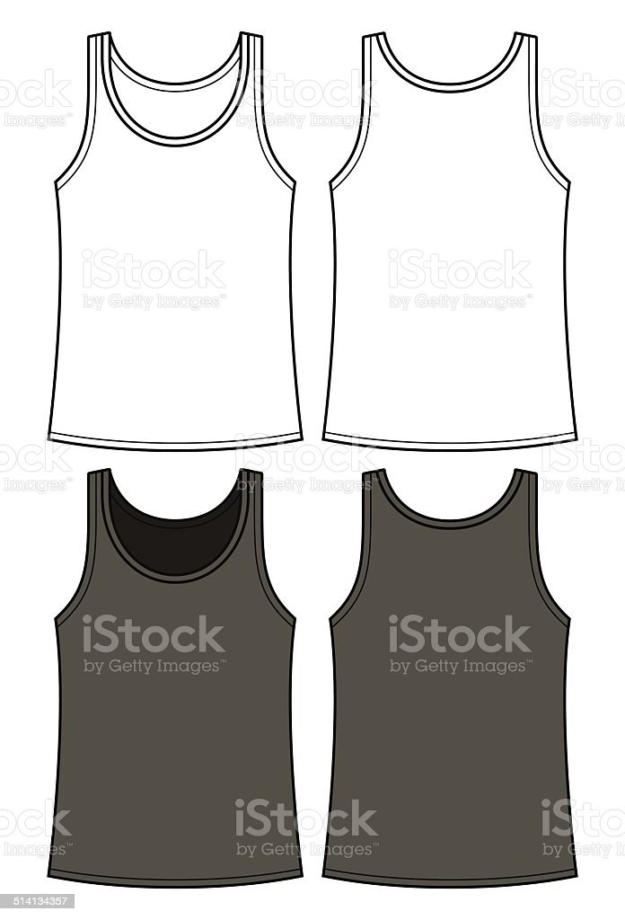 Black and white singlet template - front and back vector art illustration