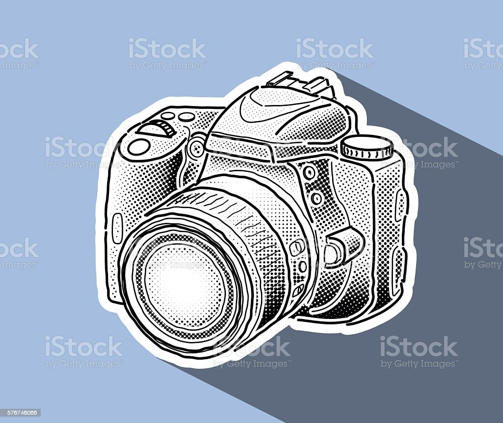 Black and White Sketch of a DSLR Photo Camera vector art illustration