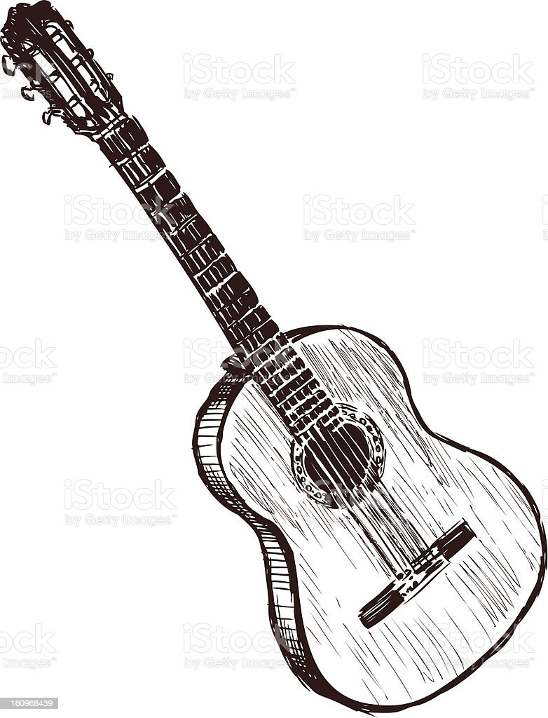 Black and white sketch of an acoustic guitar vector art illustration