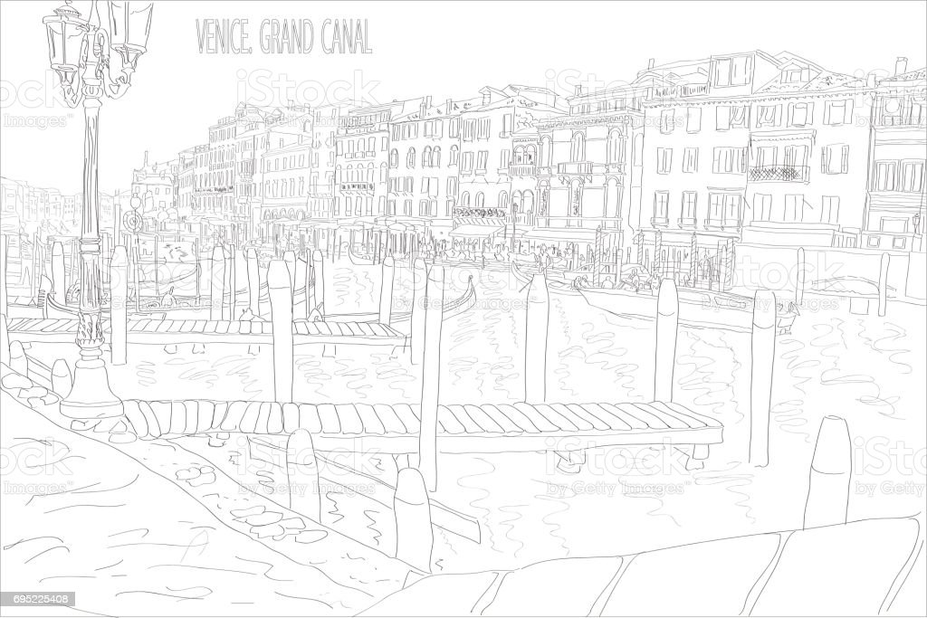 Black and white sketch of the Grand Canal in Venice vector art illustration