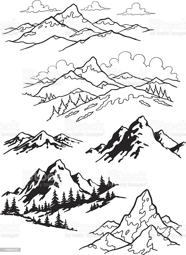 Black and white sketches of mountains vector art illustration