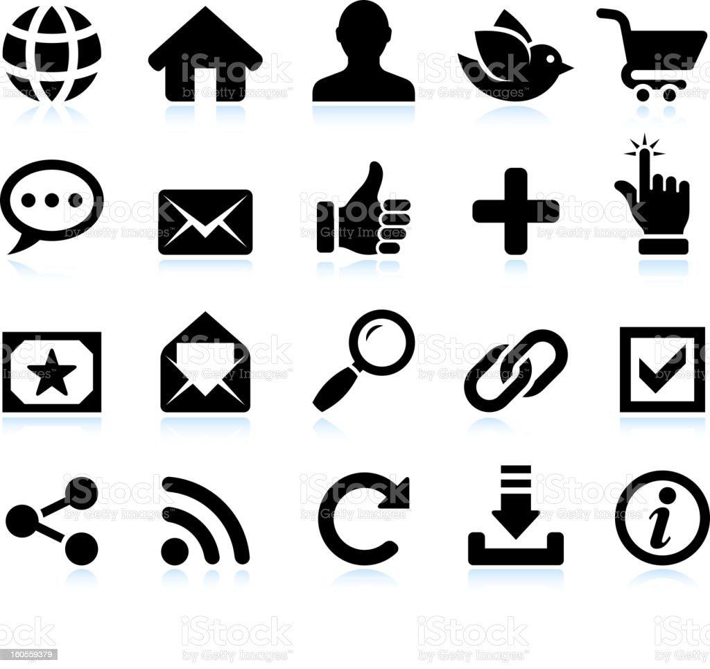 Black and white social media icons stock photo