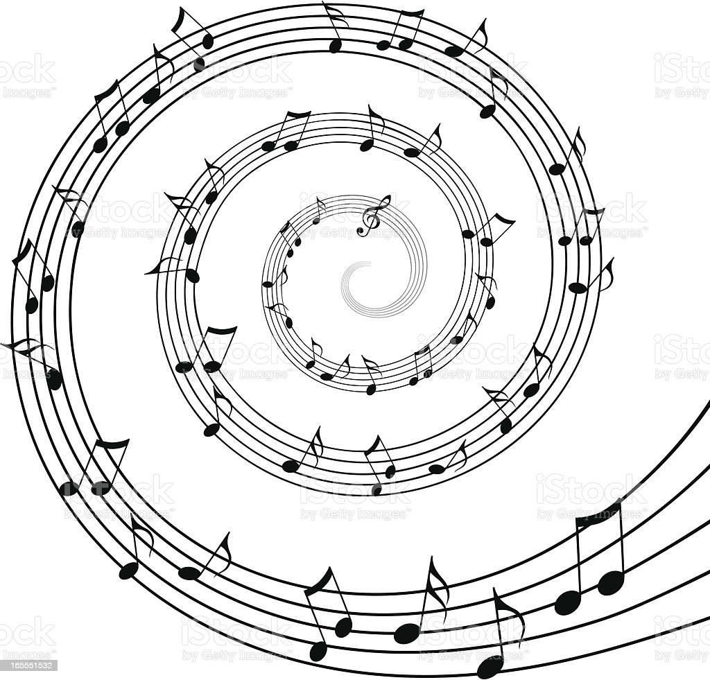 Black and White Spiral of Musical Notes royalty-free stock vector art