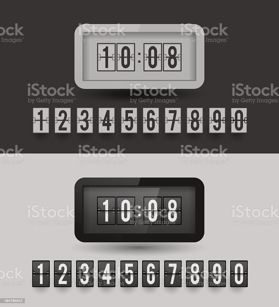 Black and white split-flip display clock. vector art illustration
