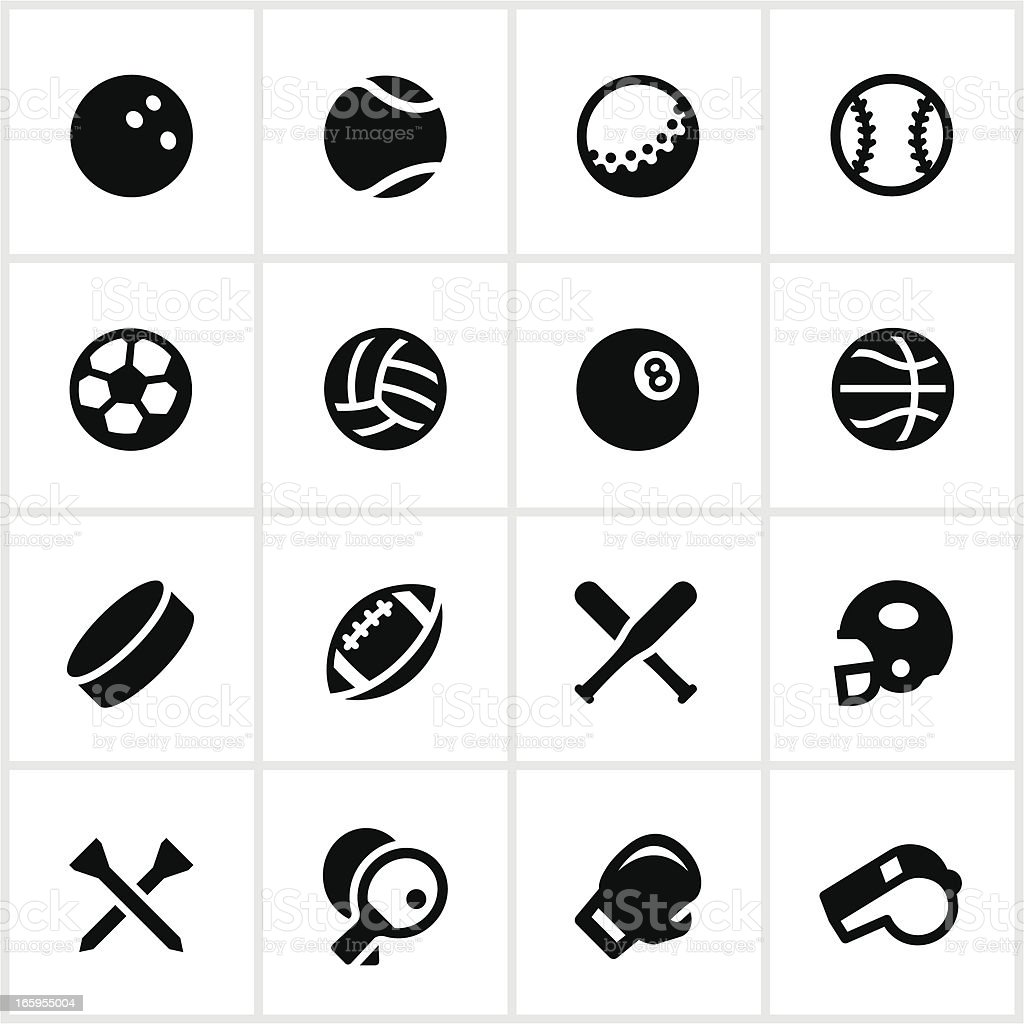 Black and white sports equipment vector icon set vector art illustration
