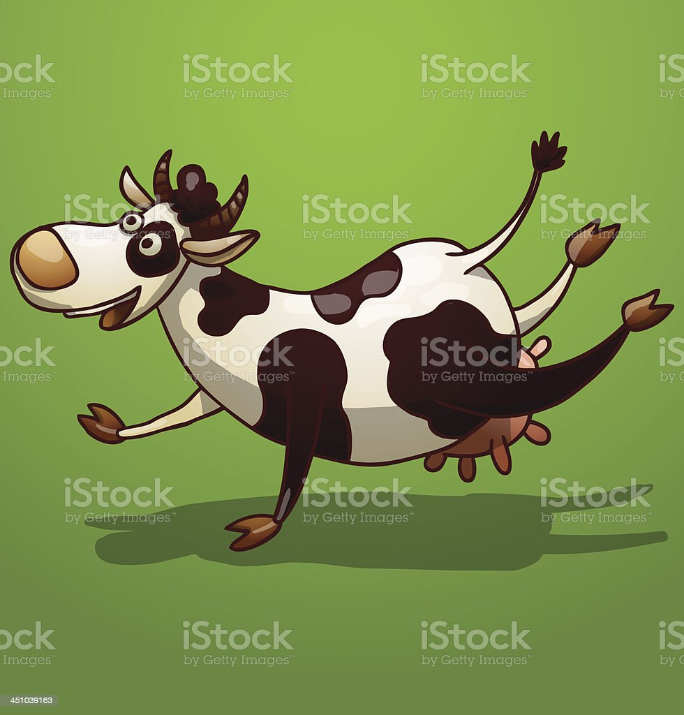 Black and white spotted funny cow royalty-free stock vector art