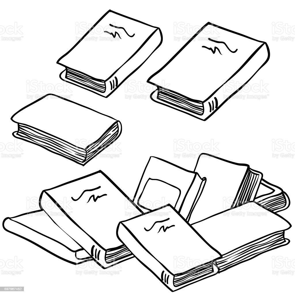 black and white stack of books vector art illustration