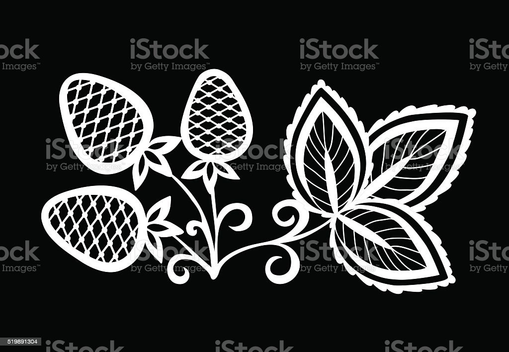 black and white strawberry, flower with leaves and swirls isolated. vector art illustration