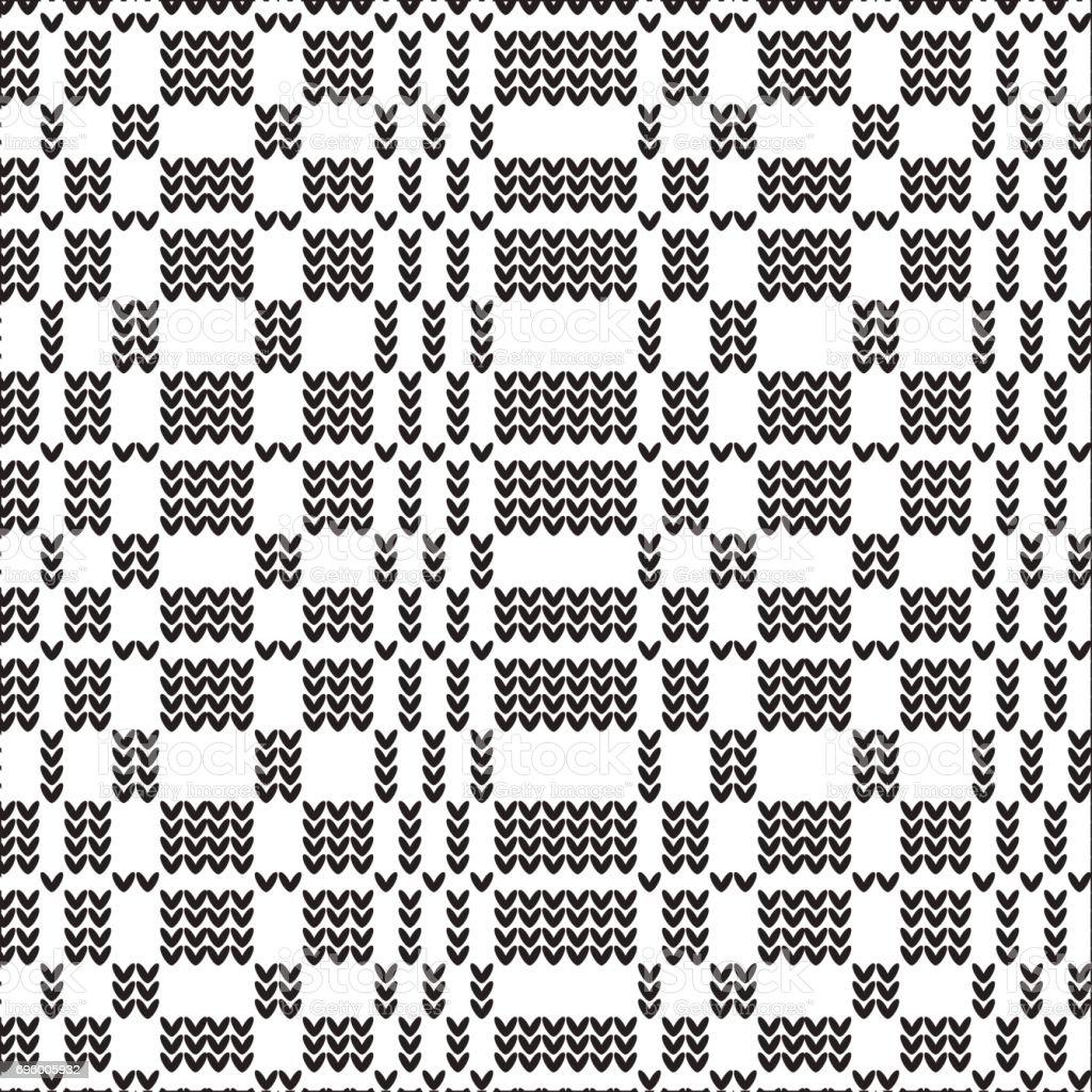 black and white striped grid knitting pattern background vector art illustration