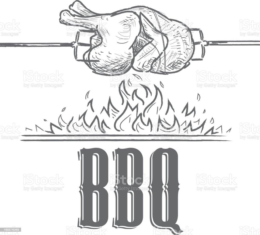 Black and white Summer bbq rostisserie chicken design template vector art illustration