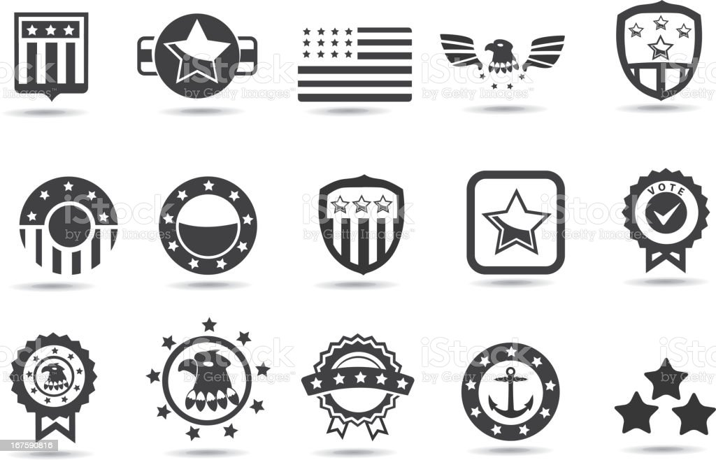 Black and white symbols of American institutions vector art illustration