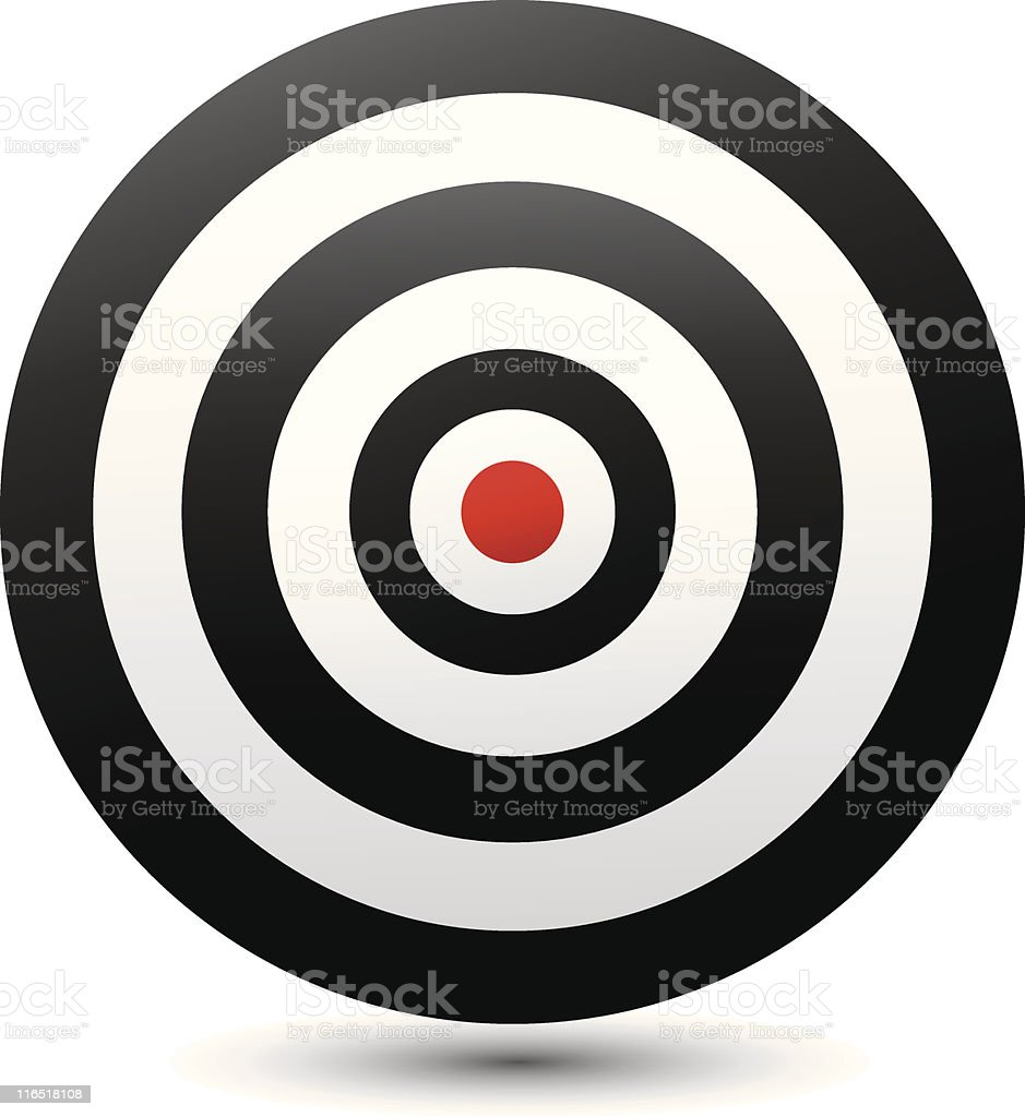 Black and white target with red bulls eye vector art illustration
