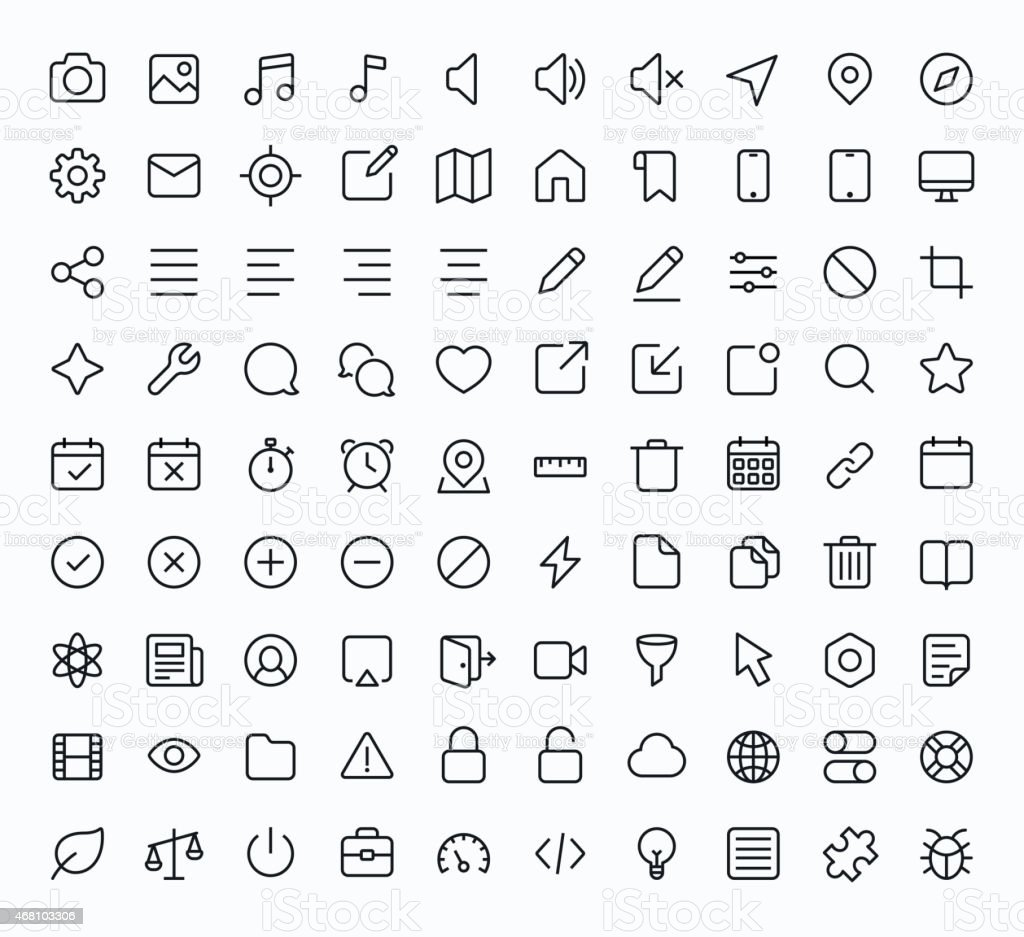 Black and white technology icons vector art illustration
