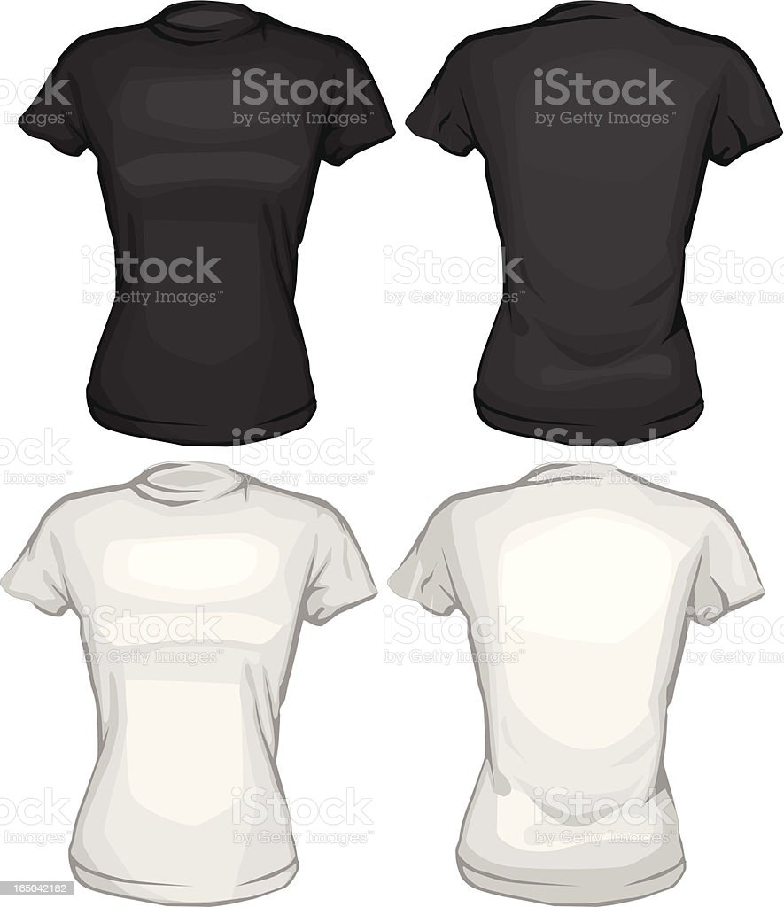 Black t shirt vector front and back - Black And White Tee Shirts Vector Front Back Royalty Free Stock Vector Art