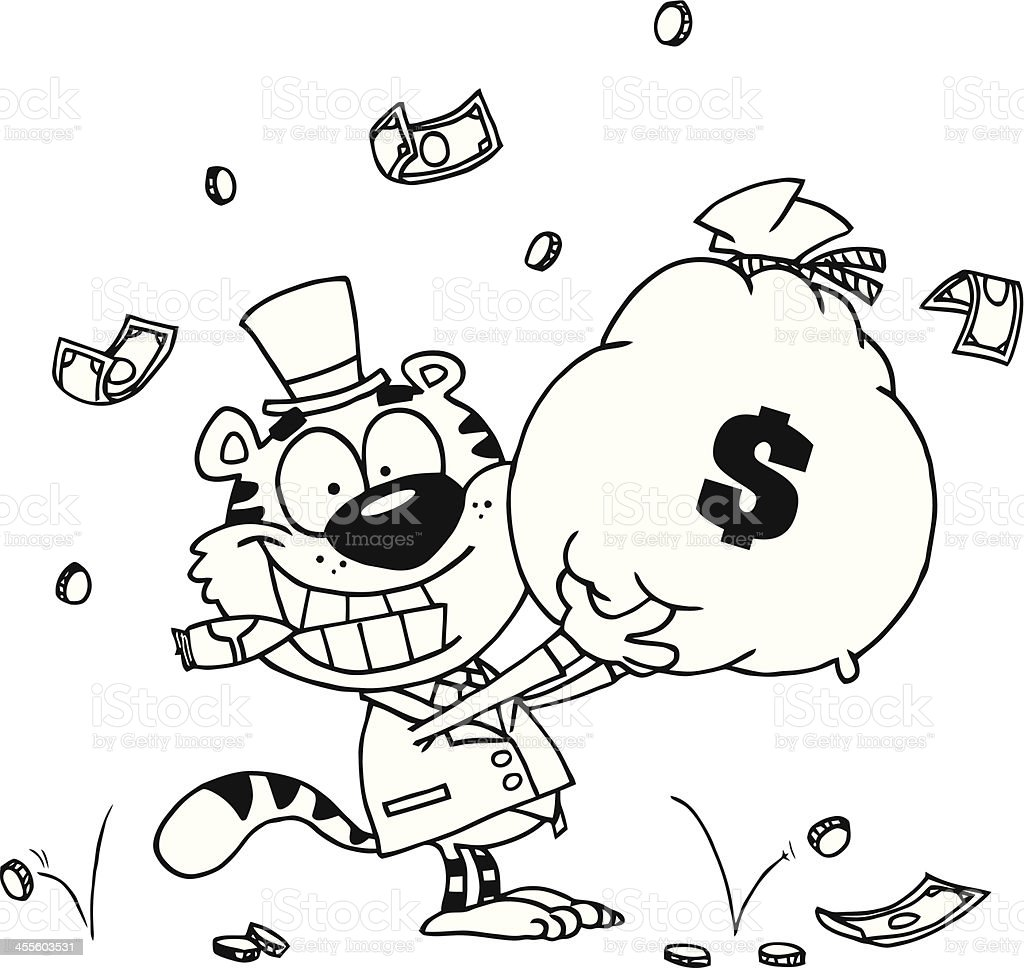 Black and White Tiger Holding A Bag Of Cash royalty-free stock vector art