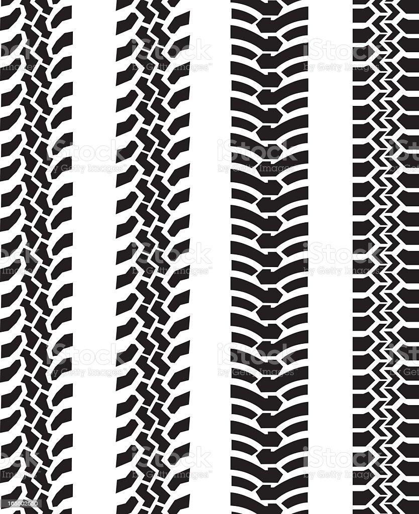 Black and white tire tread comparison vector art illustration