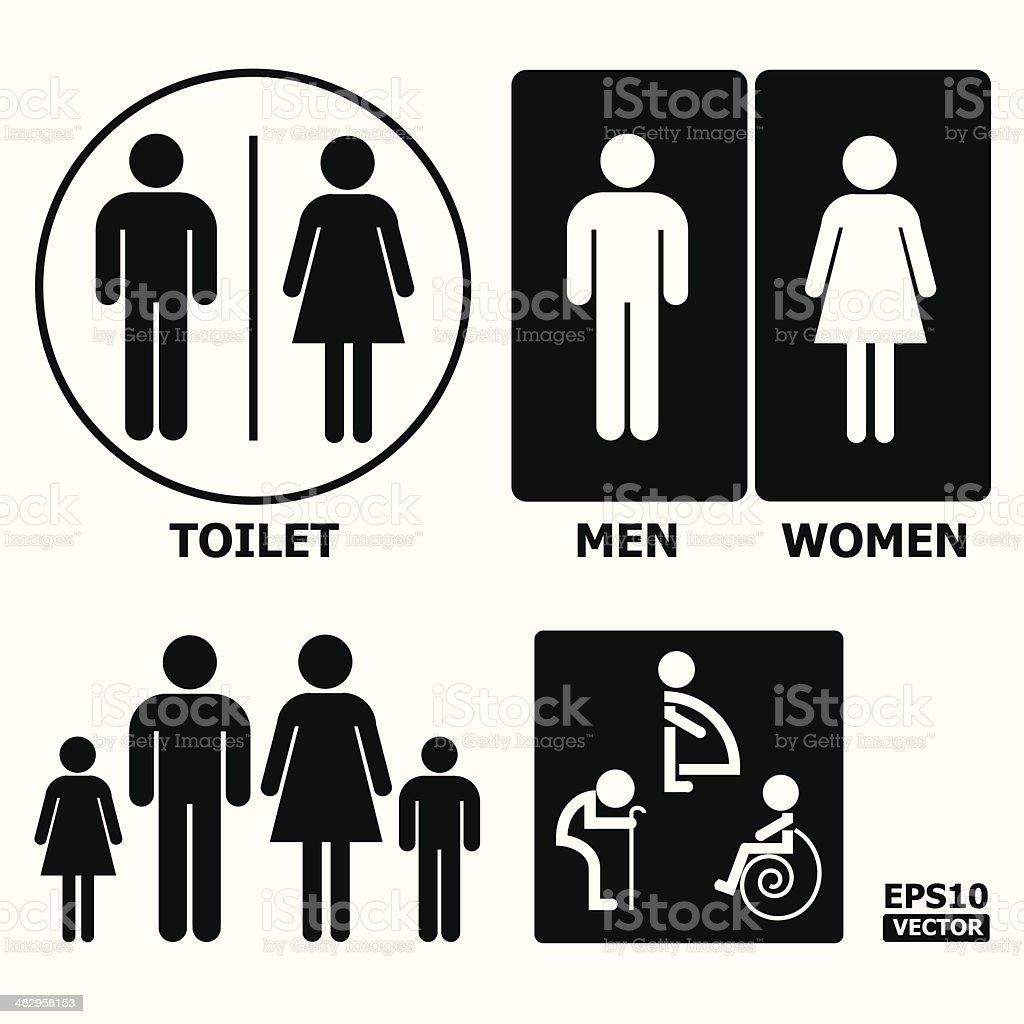 Black and White Toilet Sign. vector art illustration