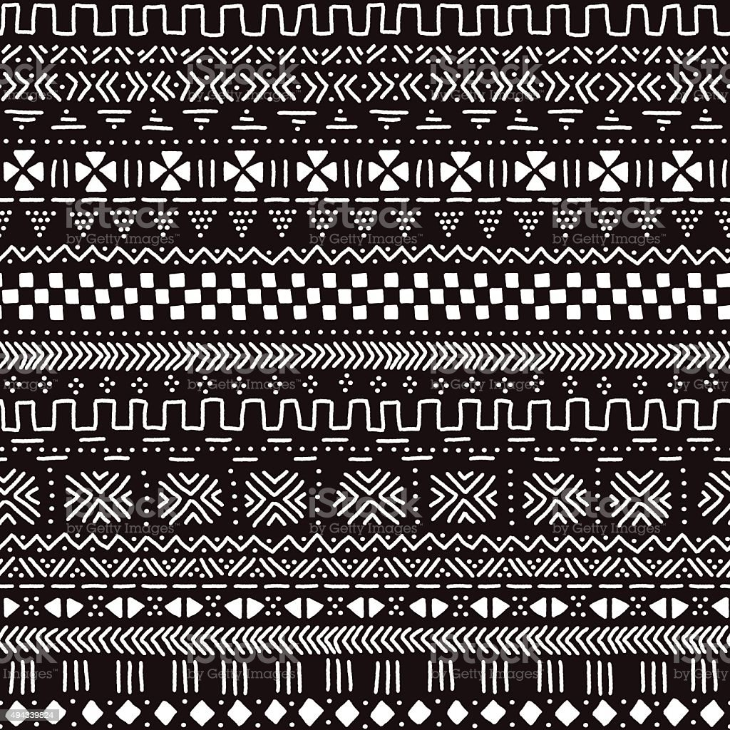 Black and white traditional african mudcloth fabric seamless pattern, vector vector art illustration