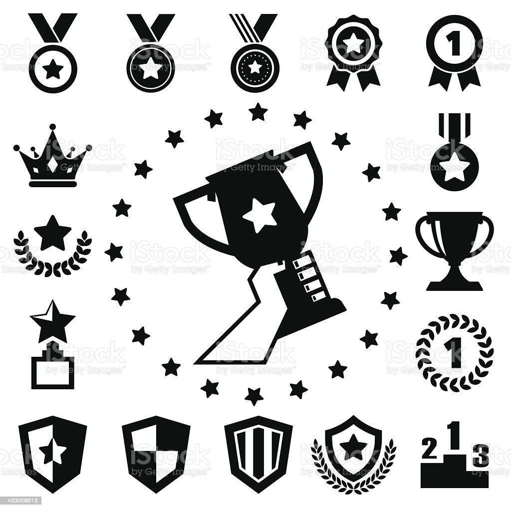 Black and white trophy and award icons vector art illustration