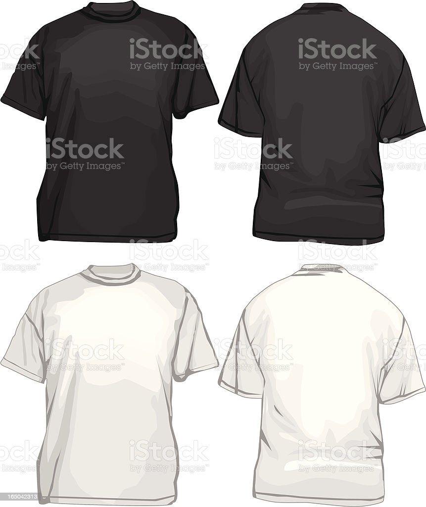 Black And White T-Shirts TemplateVECTOR Front Back royalty-free stock vector art
